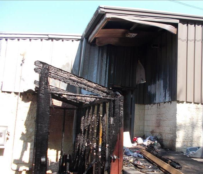 Fire damage caused by an arson.
