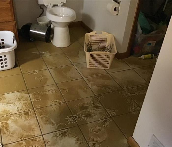 Bathroom effected by outside water.