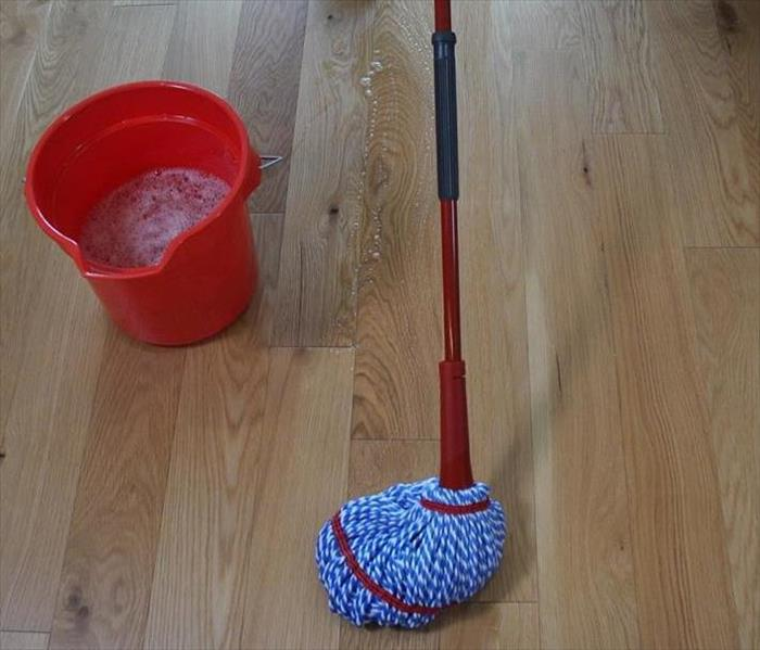 A picture of light brown hardwood flooring with a mop and a full bucket of mop water.